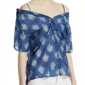 Theory Tamalee Short Sleeve Top in Blue